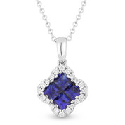 0.68ct Princess Cut Sapphire Cluster & Round Diamond Pendant & Chain Necklace in 14k White Gold
