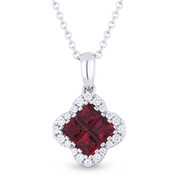 0.64ct Princess Cut Ruby Cluster & Round Diamond Pendant & Chain Necklace in 14k White Gold