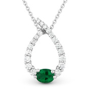 0.50ct Emerald & Diamond Water Drop Charm Journey Pendant & Chain Necklace in 14k White Gold