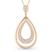 0.74ct Round Cut Diamond Pave Tear-Drop Pendant & Chain Necklace in 14k Rose Gold
