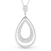 0.74ct Round Cut Diamond Pave Tear-Drop Pendant & Chain Necklace in 14k White Gold