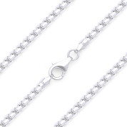 3mm (Gauge 300A) Rounded Mirror-Box Link Italian Chain Necklace in Solid .925 Sterling Silver - CLN-BOX4-300A-SLP
