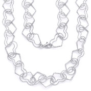 15mm Double-Heart Link Charm Italian Chain Necklace in .925 Sterling Silver w/ Rhodium Plating - CLN-CHARM3-15MM-SLW
