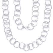 15mm Double-Coil Circle Cable Link Italian Chain Necklace in .925 Sterling Silver w/ Rhodium Plating - CLN-CHARM4-15MM-SLW