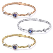 Evil Eye Glass Bead & 0.26ct Round Cut Diamond Heart-Shaped Charm Bangle Bracelet in .925 Sterling Silver