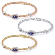 Evil Eye Glass Bead & 0.26ct Round Cut Diamond Round Halo Charm Bangle Bracelet in .925 Sterling Silver