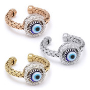 Evil Eye Glass Bead & 0.16ct Round Cut Diamond Circle Halo Charm Adjustable Ring in .925 Sterling Silver