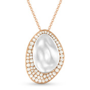 0.42ct Diamond & Hammered Centerpiece Statement Pendant & Chain Necklace in 14k Rose & White Gold