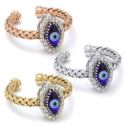 Evil Eye Glass Bead & 0.16ct Round Cut Diamond Marquise-Shaped Charm Adjustable Ring in .925 Sterling Silver