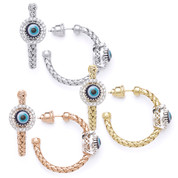 Evil Eye Glass Bead & 0.26ct Round Cut Diamond Circle Halo Charm Hoop Earrings in .925 Sterling Silver