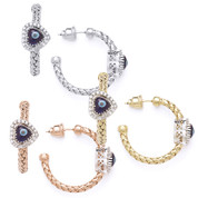 Evil Eye Glass Bead & 0.26ct Round Cut Diamond Heart-Shaped Charm Hoop Earrings in .925 Sterling Silver