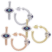Evil Eye Glass Bead & 0.26ct Round Cut Diamond Marquise-Shaped Charm Hoop Earrings in .925 Sterling Silver