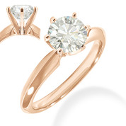 Charles & Colvard® Forever Classic® Round Brilliant Cut Moissanite 6-Prong Solitaire Engagement Ring in 14k Rose Gold - JC-SR 100-MS-14R