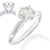 Charles & Colvard® Forever Classic® Round Brilliant Cut Moissanite 6-Prong Solitaire Engagement Ring in 14k White Gold - JC-SR 100-MS-14W