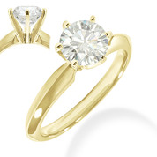 Charles & Colvard® Forever Classic® Round Brilliant Cut Moissanite 6-Prong Solitaire Engagement Ring in 14k Yellow Gold - JC-SR 100-MS-14Y
