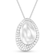 0.42ct Diamond & Hammered Centerpiece Statement Pendant & Chain Necklace in 14k White Gold