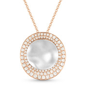 0.51ct Diamond & Hammered Centerpiece Statement Pendant & Chain Necklace in 14k Rose & White Gold