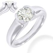 Charles & Colvard® Forever Brilliant® Round Cut Moissanite Half-Bezel Solitaire Engagement Ring in 14k White Gold - JC-SR 401-FB-14W