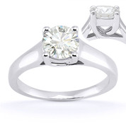 Charles & Colvard® Forever Classic® Round Brilliant Cut Moissanite 4-Prong Trellis Solitaire Engagement Ring in 14k White Gold - US-ENR430-MS-14W