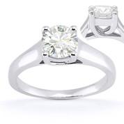 Charles & Colvard® Forever Brilliant® Round Cut Moissanite 4-Prong Trellis Solitaire Engagement Ring in 14k White Gold - US-ENR430-FB-14W
