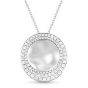 0.51ct Diamond & Hammered Centerpiece Statement Pendant & Chain Necklace in 14k White Gold