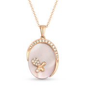 1.52ct Pink Mother-of-Pearl & Diamond Oval Pendant & Chain Necklace in 14k Rose Gold