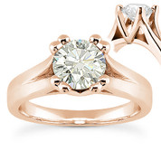 Charles & Colvard® Forever One® Round Brilliant Cut Moissanite 4-Prong Cathedral Solitaire Engagement Ring in 14k Rose Gold - US-ENR433-FO-14R