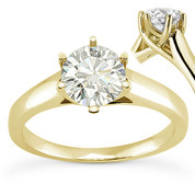 Charles & Colvard® Forever Classic® Round Brilliant Cut Moissanite 6-Prong Trellis Solitaire Engagement Ring in 14k Yellow Gold - US-ENR6069-MS-14Y