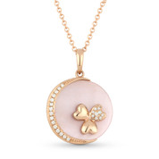 2.17ct Pink Mother-of-Pearl & Diamond Circle Pendant & Chain Necklace in 14k Rose Gold