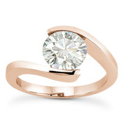 Charles & Colvard® Forever Classic® Round Brilliant Cut Moissanite Bypass Tension-Setting Solitaire Engagement Ring in 14k Rose Gold - US-ENR8947-MS-14R