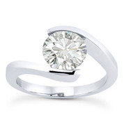 Charles & Colvard® Forever Classic® Round Brilliant Cut Moissanite Bypass Tension-Setting Solitaire Engagement Ring in 14k White Gold - US-ENR8947-MS-14W