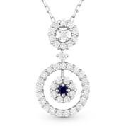 0.83ct Princess Cut Sapphire & Round Brilliant Diamond Pendant in 18k White Gold w/ 14k Chain Necklace