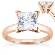 Charles & Colvard® Forever Brilliant® Square Cut Moissanite 4-Prong Solitaire Engagement Ring in 14k Rose Gold - US-ENR7287-FB-14R
