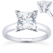 Charles & Colvard® Forever ONE® Square Brilliant Cut Moissanite 4-Prong Solitaire Engagement Ring in 14k White Gold - US-ENR7287-FO-14W
