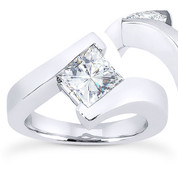 Charles & Colvard® Forever Brilliant® Square Cut Moissanite Bypass Solitaire Engagement Ring in 14k White Gold - US-ENR8168-FB-14W