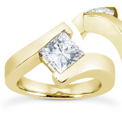 Charles & Colvard® Forever Brilliant® Square Cut Moissanite Bypass Solitaire Engagement Ring in 14k Yellow Gold - US-ENR8168-FB-14Y