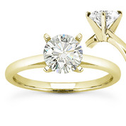 Charles & Colvard® Forever ONE® Round Brilliant Cut Moissanite 4-Prong Solitaire Engagement Ring in 14k Yellow Gold - US-ENR8099-FO-14Y