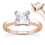 Charles & Colvard® Forever Brilliant® Square Cut Moissanite 4-Prong Solitaire Engagement Ring in 14k Rose Gold - US-ENR8188-FB-14R