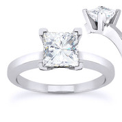Charles & Colvard® Forever Brilliant® Square Cut Moissanite 4-Prong Solitaire Engagement Ring in 14k White Gold - US-ENR8188-FB-14W