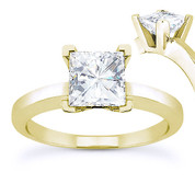 Charles & Colvard® Forever Brilliant® Square Cut Moissanite 4-Prong Solitaire Engagement Ring in 14k Yellow Gold - US-ENR8188-FB-14Y