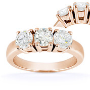 Charles & Colvard® Forever Classic® Round Brilliant Cut Moissanite 4-Prong Basket 3-Stone Engagement Ring in 14k Rose Gold - US-ENR2091-MS-14R
