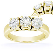 Charles & Colvard® Forever One® Round Brilliant Cut Moissanite 4-Prong Basket 3-Stone Engagement Ring in 14k Yellow Gold - US-ENR2091-FO-14Y