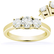 Charles & Colvard® Forever Classic® Round Brilliant Cut Moissanite 4-Prong Basket 3-Stone Engagement Ring in 14k Yellow Gold - US-ENR2419-MS-14Y