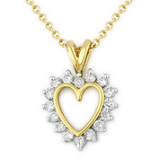 0.32ct Round Cut Diamond Heart Charm Pendant & Chain Necklace in 14k Yellow & White Gold
