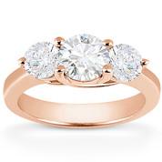Charles & Colvard® Forever Brilliant® Round Cut Moissanite 4-Prong Trellis 3-Stone Engagement Ring in 14k Rose Gold - US-ENR2282-FB-14R