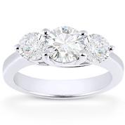 Charles & Colvard® Forever Brilliant® Round Cut Moissanite 4-Prong Trellis 3-Stone Engagement Ring in 14k White Gold - US-ENR2282-FB-14W