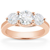 Charles & Colvard® Forever One® Round Brilliant Cut Moissanite 4-Prong Trellis 3-Stone Engagement Ring in 14k Rose Gold - US-ENR2282-FO-14R