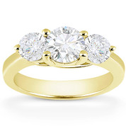 Charles & Colvard® Forever One® Round Brilliant Cut Moissanite 4-Prong Trellis 3-Stone Engagement Ring in 14k Yellow Gold - US-ENR2282-FO-14Y