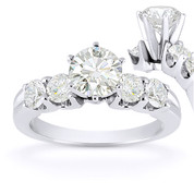 Charles & Colvard® Forever Brilliant® Round Cut Moissanite 5-Stone Engagement Ring in 14k White Gold - US-ENR2139-FB-14W