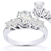 Charles & Colvard® Forever Brilliant® Round Cut Moissanite 5-Stone Trellis Engagement Ring in 14k White Gold - US-ENR2722-FB-14W